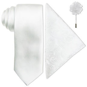 Jf J.Ferrar JF Solid Tie, Pocket Square and Lapel Pin Set