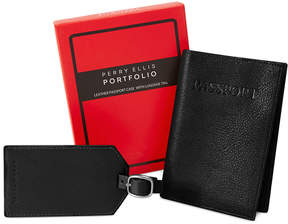 Perry Ellis Portfolio Passport Case and Luggage Tag Gift-Boxed Set