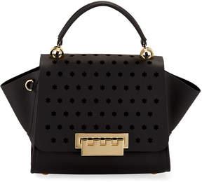 Zac Posen Eartha Floral-Perforated Leather Crossbody Bag, Black