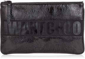 Jimmy Choo NINA/L Black Shiny Naplack Zipped Pouch