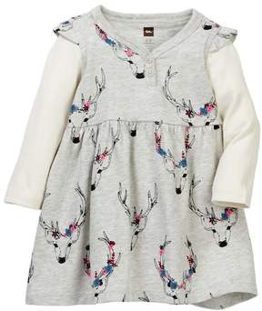 Tea Collection Oh Deer Button Neck Dress (Baby Girls)