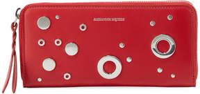 Alexander McQueen Grommet Continental Zip Wallet, Red