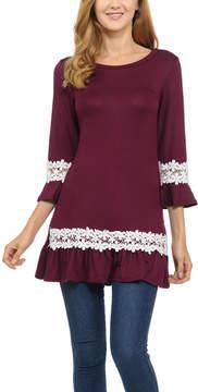 Celeste Burgundy Lace-Trim Ruffle Tunic - Women