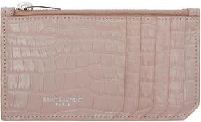Saint Laurent Pink Croc Five Fragments Zip Card Holder