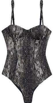 Fleur Du Mal Tulle-Paneled Snake-Print Stretch-Silk Satin Bodysuit