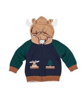 Florence Eiseman Knit Moose Hoodie Sweater, Size 6-24 Months