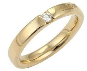 Damiani Signature Diamond 18K Yellow Gold Wedding Band Ring Size 7.5