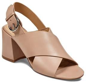 Marc Fisher Women's Hocie Leather Slingback Block Heel Sandals