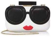 Alice + Olivia Stace Face Large Leather Clutch