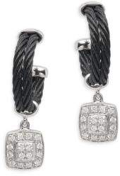 Alor 18K White Gold & Stainless Steel Diamond Square Dangle & Drop Earrings
