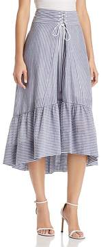 T Tahari Irena Striped High/Low Midi Skirt