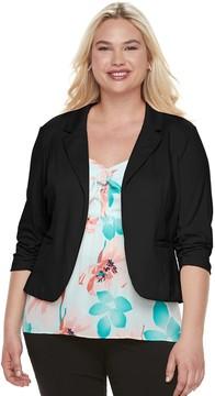 Candies Juniors' Plus Size Candie's Ruched Lace Knit Blazer