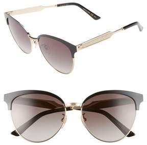 Women's Gucci 57Mm Retro Sunglasses - Black/ Grey