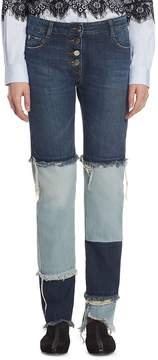 Each X Other Women's Patchwork Cotton Jeans - Two Tone, Size 28 (4-6)