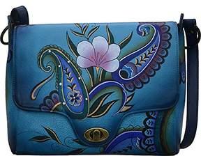 Anuschka Women's Genuine Leather Flap-Over Medium Shoulder Bag | Hand Painted Original Artwork | Chic & Stylish Organizer | Denim Paisley