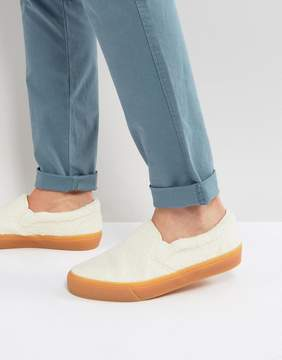 Asos Slip On Sneakers In Off White Borg With Gum Sole
