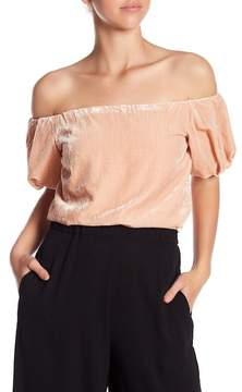 WAYF Lindon Off-the-Shoulder Velvet Blouse