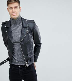 Reclaimed Vintage Inspired Leather Biker Jacket In Black