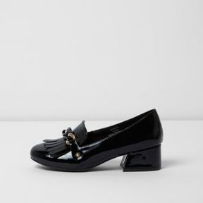 River Island Girls black patent chain block heel loafers