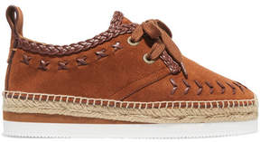 See by Chloe Leather-trimmed Suede Espadrille Platform Sneakers - Camel