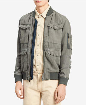 Calvin Klein Jeans Men's Rebuilt Full-Zip Linen Blend Bomber Jacket