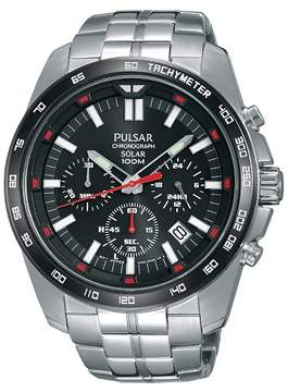 Pulsar Men's Solar Chronograph - Silver Tone with Black Dial PZ5005