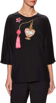 Dolce & Gabbana Women's Silk Perfume Patch Blouse