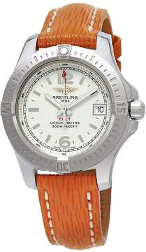 Breitling Colt Silver Dial Ladies Orange Sahara Leather Watch A7738811/G793-212XS