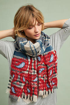Anthropologie Embroidered Plaid Wool Scarf