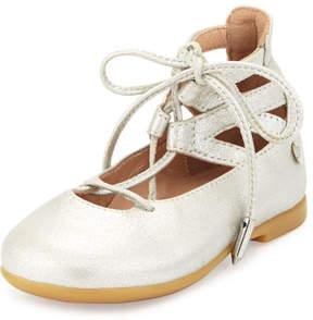 Aquazzura Belgravia Baby Leather Ballerina Flat, Silver, Youth