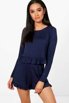 boohoo Petite Frill Long Sleeve Pyjama Set