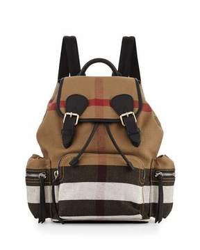 Burberry Medium Check Canvas Backpack, Black - BLACK - STYLE