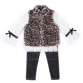Nicole Miller Tulle Trim Top, Leopard Print Faux Fur Vest & Legging Set (Baby Girls)