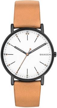 Skagen Unisex Signature Tan Leather Strap Watch 40mm SKW6352