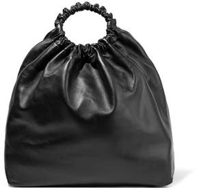 The Row Double Circle Xl Leather Tote - Black