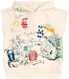Burberry Hooded Sleeveless Cotton Sweatshirt