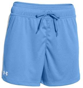 Under Armour Women's Matchup Short White Stripe Loose Fit 5' Inseam 1276218