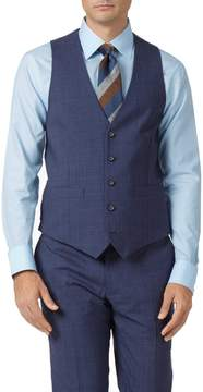 Charles Tyrwhitt Airforce Blue Adjustable Fit Panama Check Business Suit Wool Vest Size w48