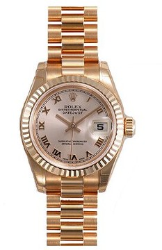 Rolex Lady-Datejust 26 Champagne Dial 18k Rose Gold President Automatic Ladies Watch