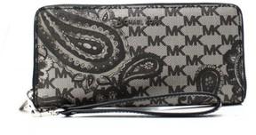Michael Kors Womens Paisley Woven Signature Wristlet Wallet - BLACK - STYLE
