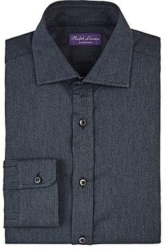 Ralph Lauren Purple Label Men's Neat Textured-Knit Cotton Dress Shirt