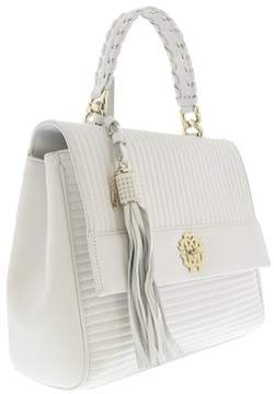 Roberto Cavalli White Quilted Leather Top Handel Bag