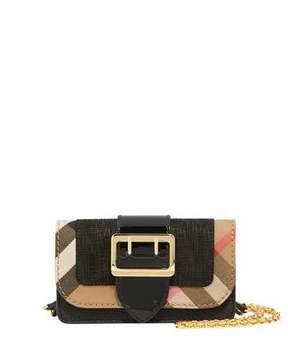 Burberry Mini Check/Embossed Suede Phone Crossbody Bag