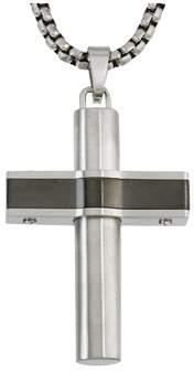 Armani Exchange Jewelry Mens Bridge Cross Pendant In Grey Stainless Steel.