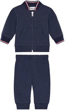 Moncler Zip-Up Cardigan w/ Joggers, Size 12M-3Y