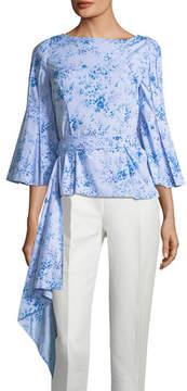Carolina Herrera Boat-Neck 3/4-Peplum Floral-Print Poplin Blouse