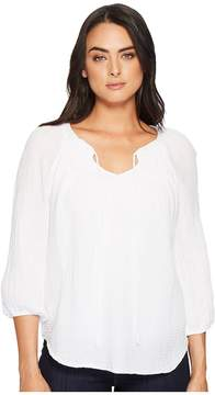 Michael Stars Double Gauze Peasant Top with Smocking Women's Clothing
