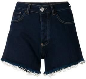 Pinko beaded trim denim shorts