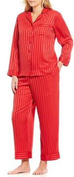 Cabernet Plus Shadow-Striped Satin Pajamas