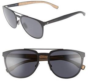 BOSS Men's 57Mm Navigator Sunglasses - Matte Black/ Grey Blue